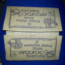 Vintage: LOTE DE DOS CAJAS DE 12 PLATOS ARCOROC ROSALINE. Lote 194906418