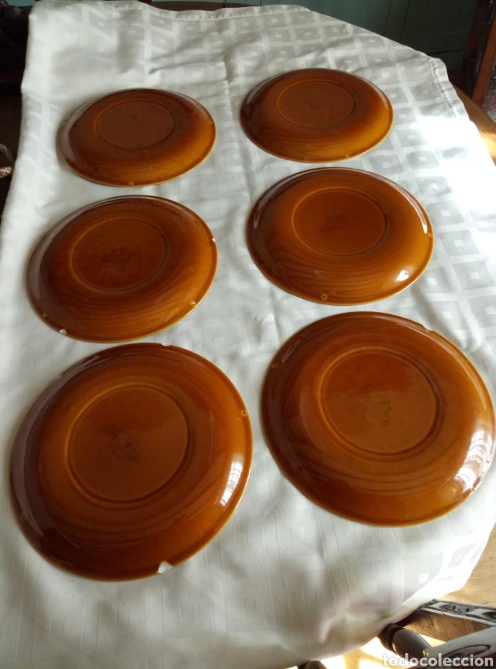 Vintage: 6 platos llanos Pontesa color caramelo - Foto 2 - 194931378