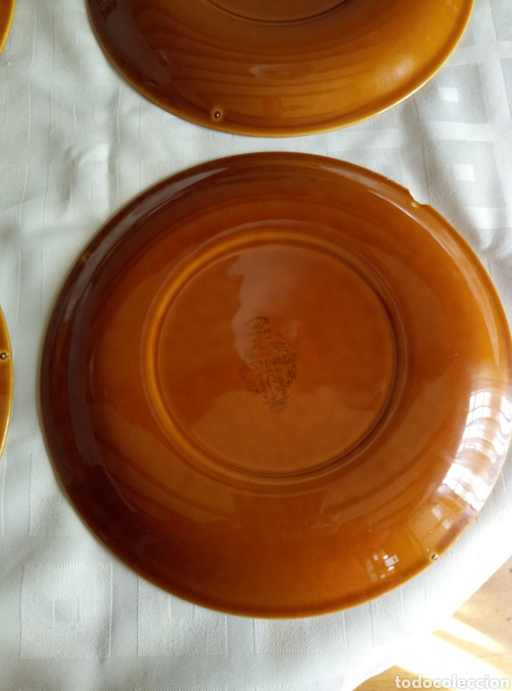 Vintage: 6 platos llanos Pontesa color caramelo - Foto 4 - 194931378