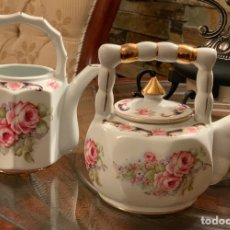 Vintage: CAFETERA Y LECHERA DE PORCELANA. Lote 195042730