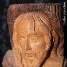 Vintage: FIGURA DE DIOS JESUS EN TRONCO ARCILLA , ASCENDIMIENTO, IX ANIVERSARIO. Lote 195312260