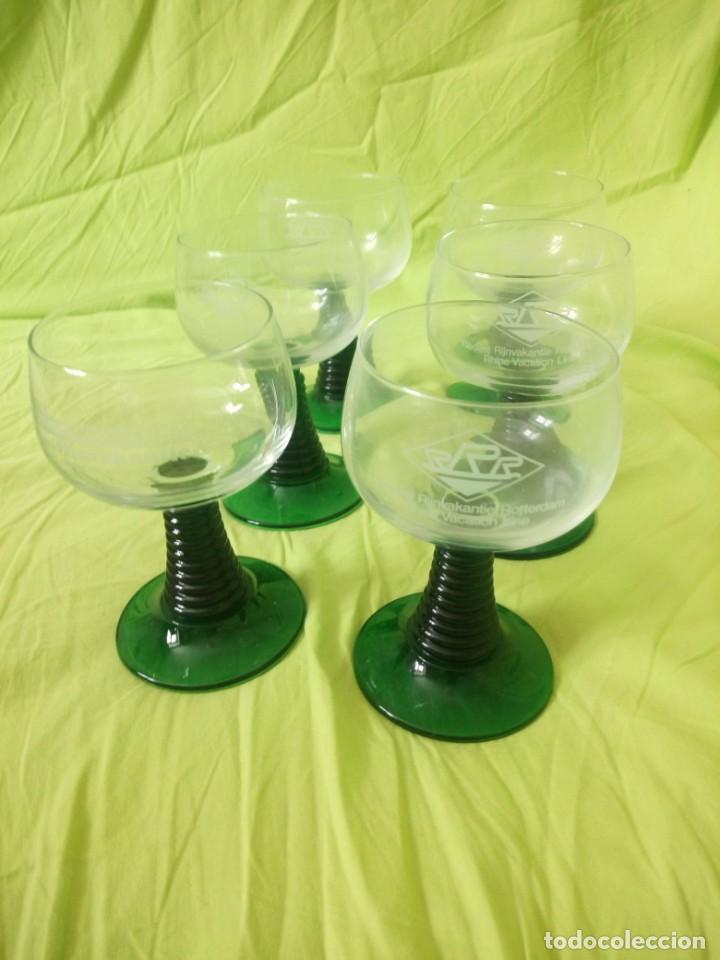 Vintage: Juego de 6 copas de cristal con el pie verde,2 cl rederj rijnvakatie.france - Foto 2 - 195326620