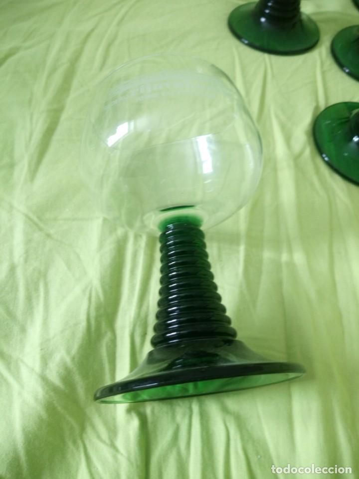 Vintage: Juego de 6 copas de cristal con el pie verde,2 cl rederj rijnvakatie.france - Foto 5 - 195326706