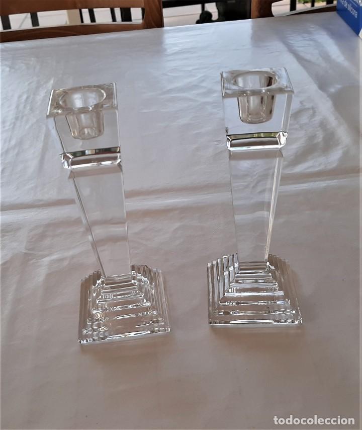 2 PORTAVELAS CANDELABRO VINTAGE NACHTMANN CRYSTAL DOUBLE (Vintage - Decoración - Cristal y Vidrio)