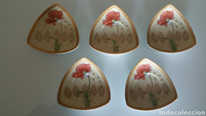 CONJUNTO DE 5 PLATOS PEQUEÑOS DE CERÁMICA, YAMASEN. (Vintage - Decoración - Porcelanas y Cerámicas)
