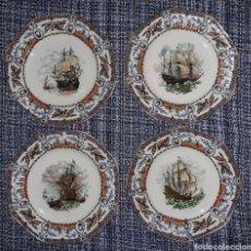 Vintage: 4 BELLOS PLATOS DE PORCELANA CON FIRMA DE 21 CMS DE DIAMETRO TODOS EN IMPECABLE ESTADO: SIN ESTRENAR. Lote 195388496