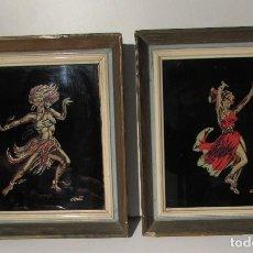 Vintage: PAREJA DE CUADROS CON CRISTAL - NEGRITOS - AÑOS 60 VINTAGE - PRECIOSOS. Lote 195388925