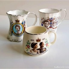 Vintage: INCREIBLES 3 TAZAS CONMMEMORATIVAS REYES BRITANICOS - 7 A 11.CM ALTO. Lote 195413396