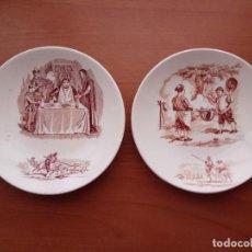 Vintage: PAREJA PLATITOS CERÁMICA LUEVILLE K&G DEL QUIJOTE DE FINALES SIGLO XIX. Lote 195434878