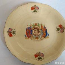 Vintage: PRECIOSO PLATO CONMEMORATIVO CORONACION REINA ISABEL II ORIGINAL 1953 DE ALFRED MEAKIN ENGLAND. Lote 196354725