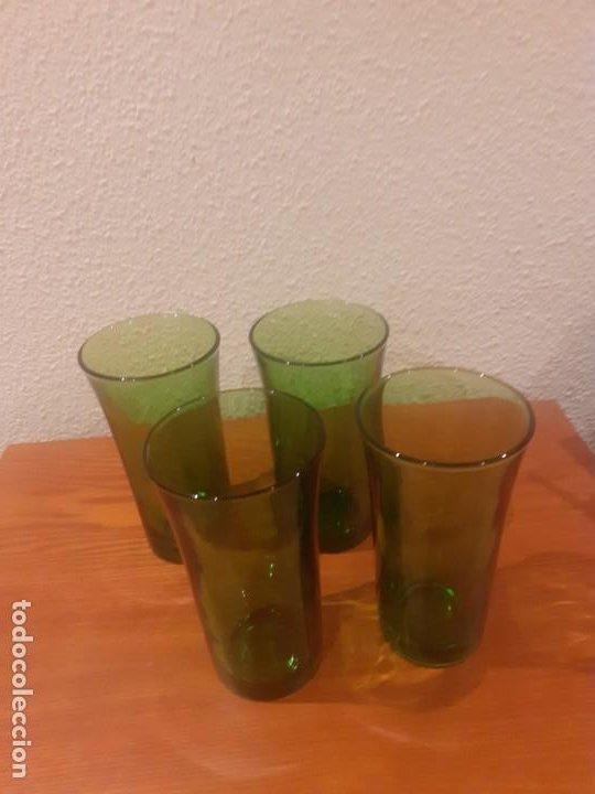LOTE DE CUATRO VASOS ALTOS DE DURALEX CRISTAL VERDE (Vintage - Decoración - Cristal y Vidrio)