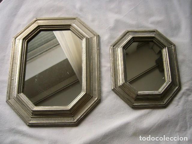 2 ESPEJOS DE ESTAÑO OCTOGONALES (Vintage - Decoración - Cristal y Vidrio)