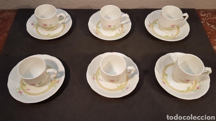 Vintage: Lote de tazas de café y platos. Marca Bidasoa, años 70, con decoración floral en tazas y platos - Foto 4 - 200806637