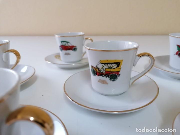 TAZAS Y PLATOS DE PORCELANA DECORACIÓN COCHES ANTIGUOS. (Vintage - Decoración - Porcelanas y Cerámicas)