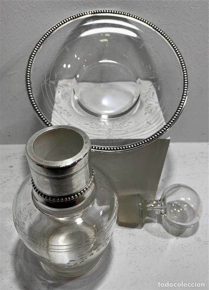 Vintage: Botella con plato de cristal y plata. - Foto 3 - 201994880