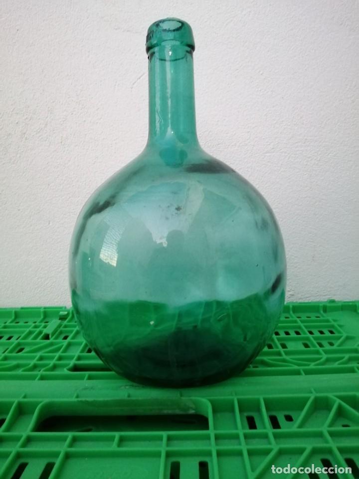 Vintage: Botella garrafa DAMAJUANA LEVANTE de 4 Litros tono color vidrio azul florero vino agua aceite oliva - Foto 3 - 203104765