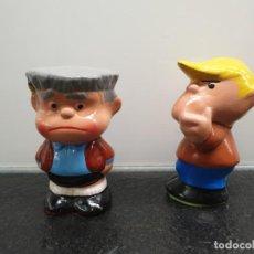 Vintage: FIGURAS DE CERÁMICA DE MANOLITO Y FELIPE, PERSONAJES DE MAFALDA. AÑOS 80 (ENVÍO 2,50€). Lote 204734737