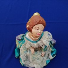 Vintage: FALLERA - VALENCIANA CON TRAJE DE FALLERA BASE DE MADERA. Lote 205813863