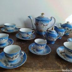 Vintage: JUEGO DE CAFÉ CON TETERAS ORIENTAL EN RELIEVE. Lote 205833472