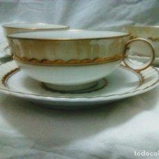 Vintage: SEIS TAZAS Y PLATOS DE SERVICIO DE CAFÉ . PORCELANA LIMOGES. SIN ESTRENAR.. Lote 206503925