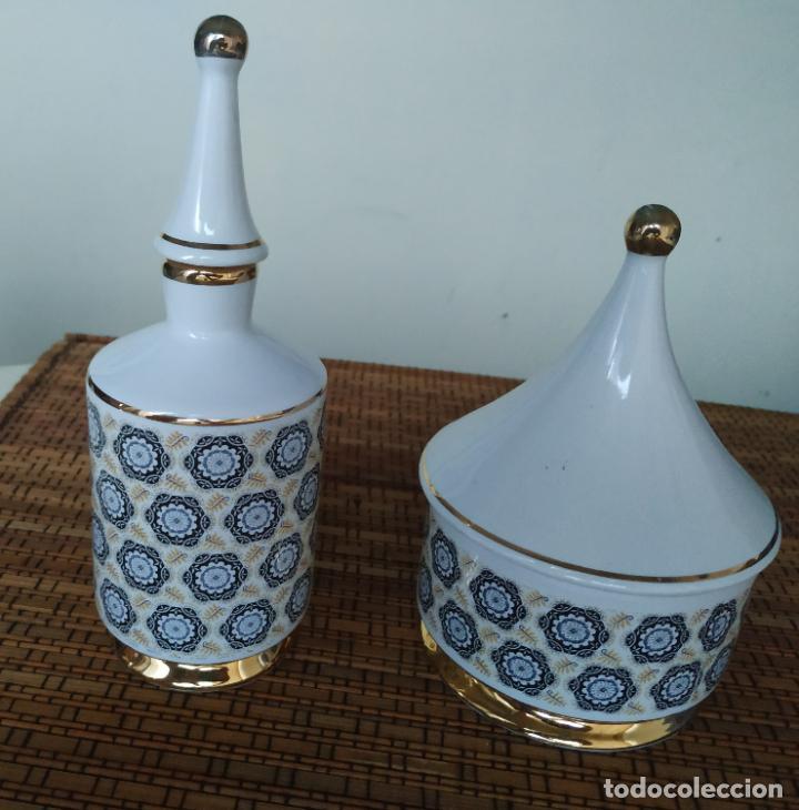Vintage: Juego de tocador de porcelana. 2 piezas: Bote para polvos, algodón,...y frasco de colonia. - Foto 2 - 206777635