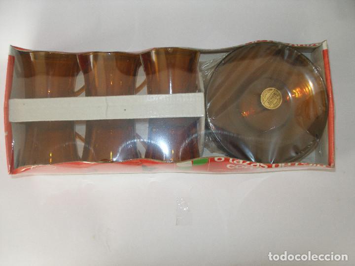 CAJA JUEGO SEIS TAZAS CAFÉ AMBAR DURALEX VICASA MADE IN SPAIN AÑOS 70 - PRECINTADA (Vintage - Decoración - Cristal y Vidrio)