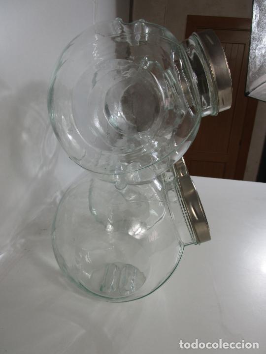 Vintage: Carameleros, Bomboneras - Cristal Redondo, Apilable - Tapón Metálico - de Antigua Tienda, Confitería - Foto 6 - 207472217