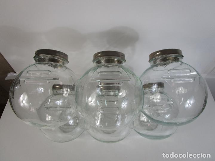 Vintage: Carameleros, Bomboneras - Cristal Redondo, Apilable - Tapón Metálico - de Antigua Tienda, Confitería - Foto 10 - 207472217