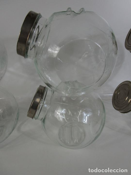 Vintage: Carameleros, Bomboneras - Cristal Redondo, Apilable - Tapón Metálico - de Antigua Tienda, Confitería - Foto 14 - 207472217