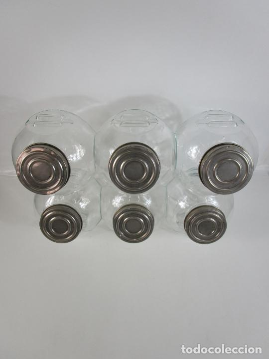 Vintage: Carameleros, Bomboneras - Cristal Redondo, Apilable - Tapón Metálico - de Antigua Tienda, Confitería - Foto 22 - 207472217
