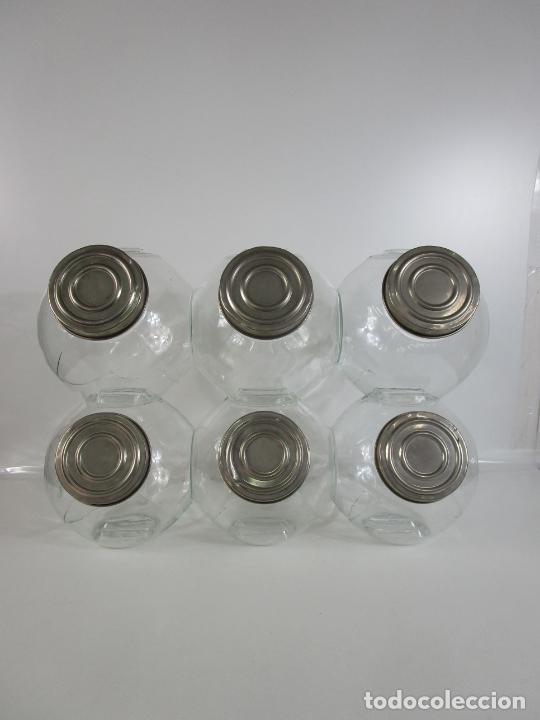 CARAMELEROS, BOMBONERAS - CRISTAL REDONDO, APILABLE - TAPÓN METÁLICO - DE ANTIGUA TIENDA, CONFITERÍA (Vintage - Decoración - Cristal y Vidrio)