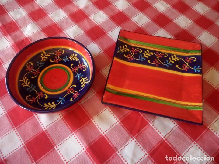Vintage: Lote de 1 cuenco y 1 fuente de cerámica actual valencia,bonito colorido. - Foto 2 - 208093678