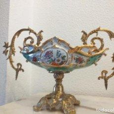 Vintage: CENTRO DE MESA BRONCE Y PORCELANA. Lote 208932135