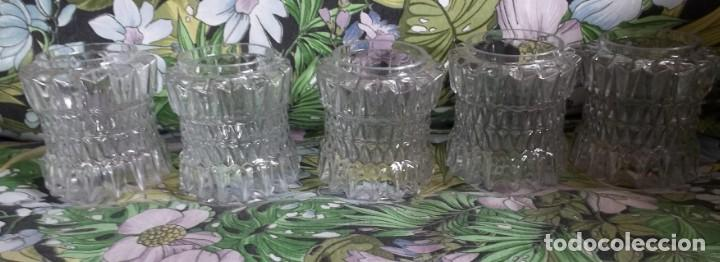 5 TULIPAS DE CRISTAL TALLADO-AÑOS 60 (Vintage - Decoración - Cristal y Vidrio)