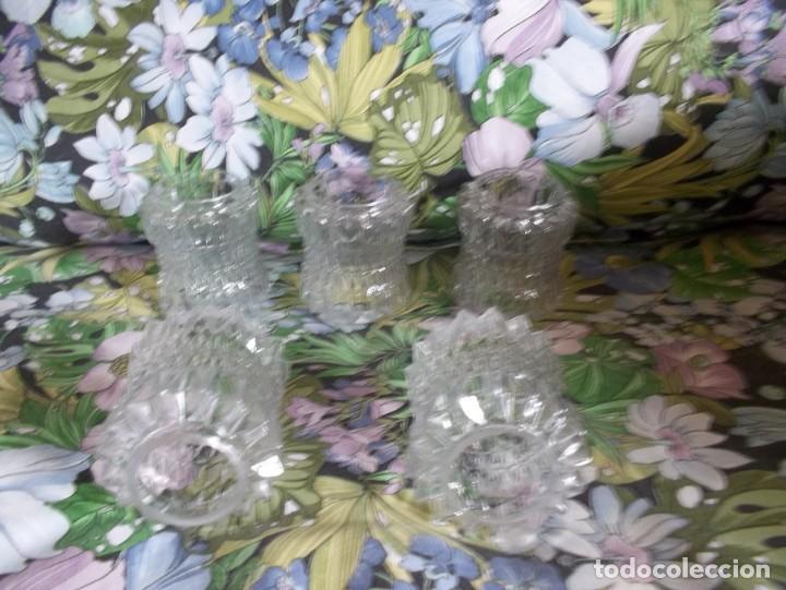 Vintage: 5 TULIPAS DE CRISTAL TALLADO-AÑOS 60 - Foto 7 - 209629171