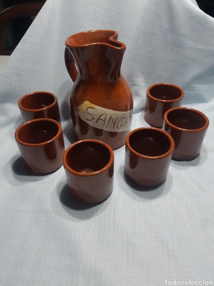 JARRA DE SANGRIA CON 6 VASOS (Vintage - Decoración - Porcelanas y Cerámicas)