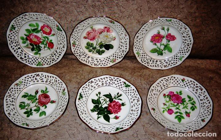 COLECCION PLATOS LAS ROSAS DE REDOUTE- 6- BAVARIA SCHUMAN- PERFECTO ESTADO- (Vintage - Decoración - Porcelanas y Cerámicas)