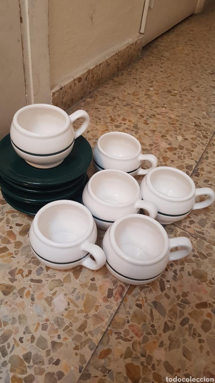 JUEGO PARA DESAYUNO O MERIENDA VINTAGE (6 TAZAS, PLATOS Y UNA JARRA) (Vintage - Decoración - Porcelanas y Cerámicas)