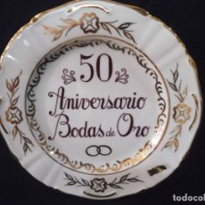Vintage: PLATO 50 ANIVERSARIO PEQUEÑO SEMI - ORO. Lote 213108381