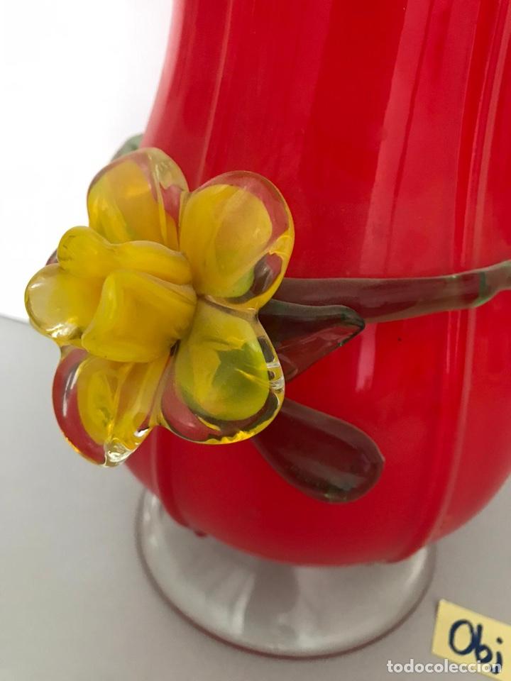 Vintage: Jarrón vintage cristal soplado rojo - Foto 3 - 213163325