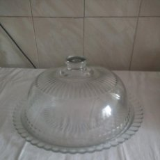 Vintage: BONITA QUESERA O TARTERA CON TAPA DE CRISTAL.GRAN TAMAÑO. Lote 213423920
