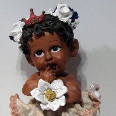 Vintage: FIGURA RESINA NIÑA NEGRITA. 38 CM. ALTO.. Lote 214199096
