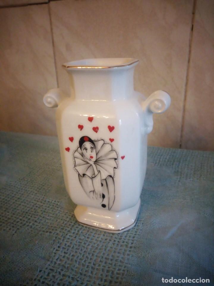Vintage: jarron de porcelana creazioni originali made in italy,decorado con corazones y pierrot - Foto 2 - 214233922