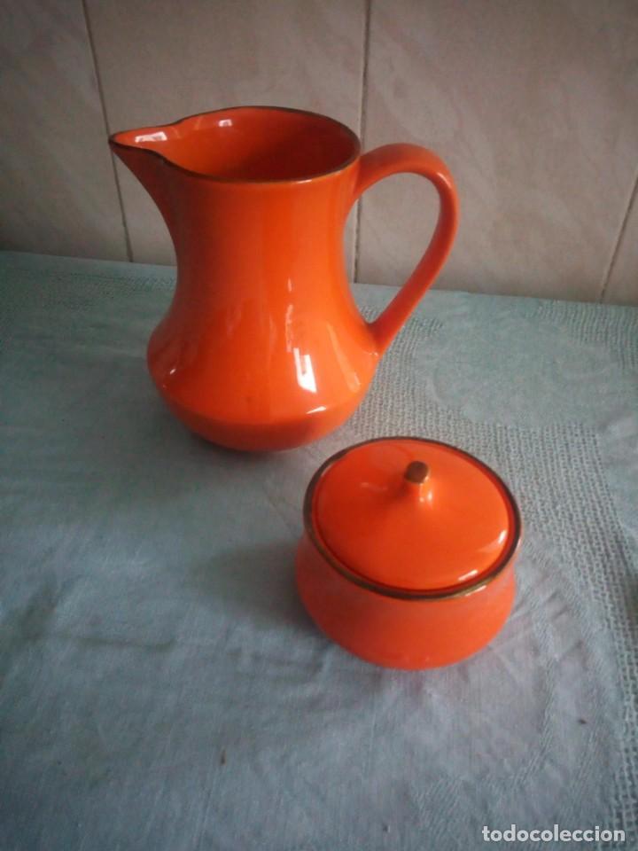 Vintage: Lote de jarra y azucarero de cerámica color naranja,made in italy - Foto 2 - 214592828