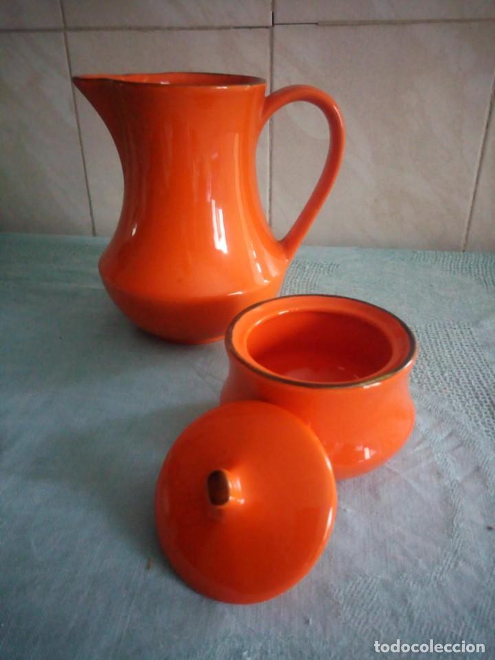 Vintage: Lote de jarra y azucarero de cerámica color naranja,made in italy - Foto 3 - 214592828