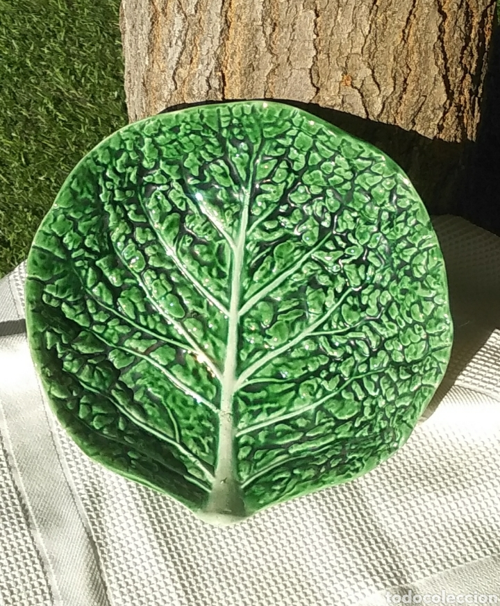 Vintage: Pareja platos Bordallo Pinheiro. Col verde vena - Foto 4 - 214784060