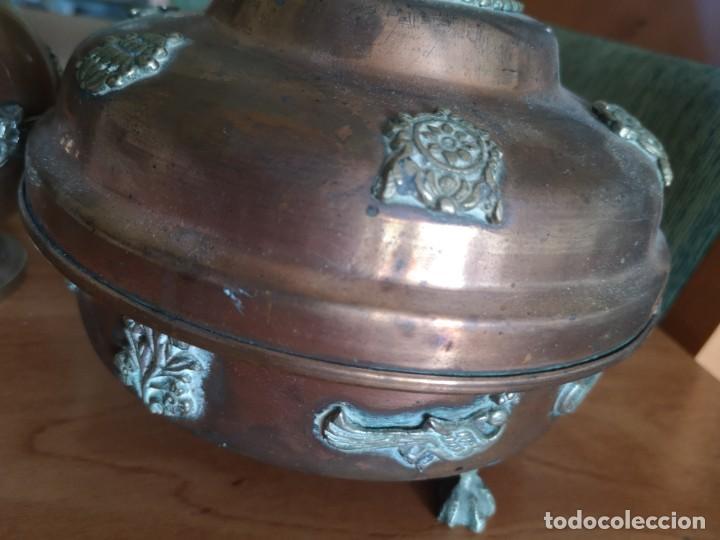 Vintage: Jarrones cobre con bronce y latón figuras de dragones - Foto 7 - 216018450