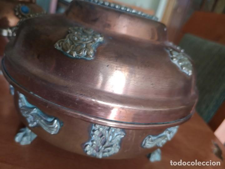 Vintage: Jarrones cobre con bronce y latón figuras de dragones - Foto 9 - 216018450