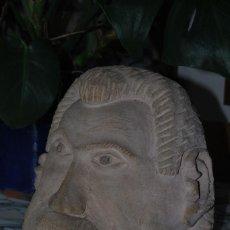 Vintage: ESCULTURA DE BARRO - CABEZA DE HOMBRE - GRAN TAMAÑO. Lote 217204112