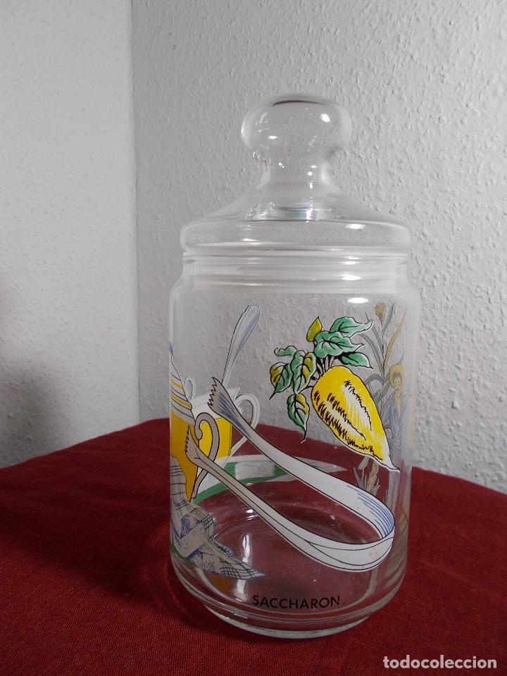 BOTE CRISTAL CON TAPA SACARINA SACCHARON ALTURA MAX. 20CM (Vintage - Decoración - Cristal y Vidrio)